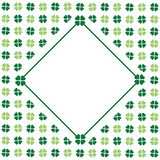 Green seamless pattern with clovers, shamrock leaves for St. Patrick`s Day. Holiday symbol with frame, border for text, greetings. Green clover greeting card for royalty free illustration