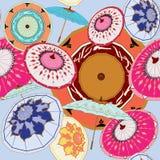 Chinese Umbrellas multi-colors stock illustration
