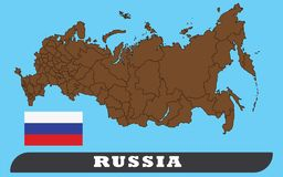 Russian Map and flag stock illustration