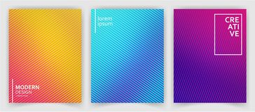 Set of Abstract Multicolor Striped Backgrounds for Template Brochure, Web Design, Flyer, Business Card, Banner Background stock illustration