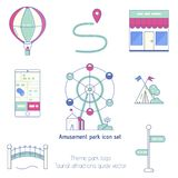 Amusement park objects Vector. Amusement park objects. Flat vector icon set includes: wheel, hot air baloon, cafe shop, bridge, route signs, camp stock illustration