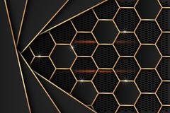 Black metal sheet with gold edges on the black mesh as the background. royalty free illustration