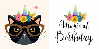 Birthday cards set with funny unicorn cat and hand lettering