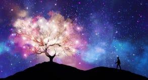 Tree of knowledge, man silhouette, cosmos, shining stars universe sky