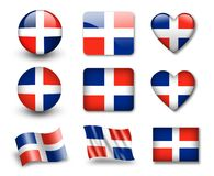 Untitled-60(74).jpg. The Dominican Republic flag - set of icons and flags. glossy and matte on a white background Stock Image