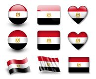 Untitled-61(74).jpg. The Egyptian flag - set of icons and flags. glossy and matte on a white background Royalty Free Stock Photos