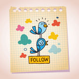 blue birds follow note paper cartoon sketch Royalty Free Stock Photo