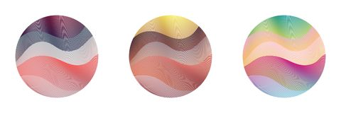 Untitled-1. Circle ripple set abstract vector illustration on white background. Artistic bright patterns with colorful curve lines arranged in round shapes. Wavy vector illustration