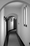 Untitled. Hotel rooms corridor with beautiful geometry in a historical building. Indoor photo Royalty Free Stock Photos