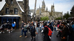 Untitled Japanese students travel in Diagon alley stock footage