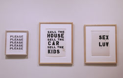 Untitled paintings by Christopher Wool on display in Solomon R  Guggenheim Museum of modern and contemporary art in New York Stock Photos