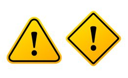 Yellow exclamation vector sign stock illustration