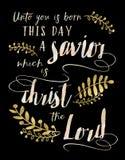 Unto ons een kind is Geboren deze dag een Verlosser, Christus Lord Stock Foto