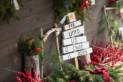 For unto us a child is born Christmas Sign Stock Images