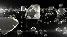Untold riches. rain of diamonds. Different sizes, beautifully reflected in the table. 3d rendering stock footage