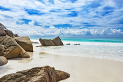Untouched natural tropical beach Seychelles Stock Images