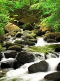 An untouched stream through Keniveil. A long exposure of a stream running through the beautifully untouched cornish woodland of Keniveil Stock Photography