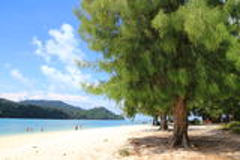Untouched tropical beach in Langkawi. A beautiful view of Beras Basah Island in Langkawi Stock Image