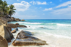 Untouched tropical beach Seychelles islands Stock Photos