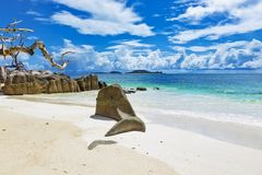 Untouched tropical beach Seychelles stock images