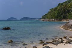 Untouched tropical beach in Thailand. Samui, Taling Ngam beach Royalty Free Stock Photos