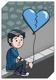Untröstlicher trauriger junger Mann, der auf dem Bürgersteig sitzt Stockfotos