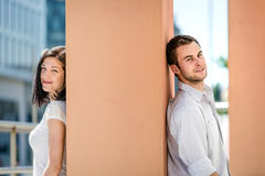 Untraditional couple outdoor portrait Royalty Free Stock Photo