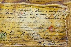 Untranslatable Schreiben auf altem Pergament Lizenzfreie Stockfotos