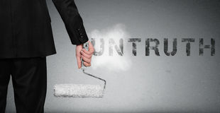Untruth word painting on wall Stock Photo