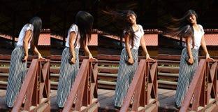 Ununterbrochen Haarporträt der thailändischen Frau des Fotos langes stockbild