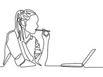 Ununterbrochene Linie Frau, die einen Stift denkt und bitting Frauenausbildung vektor abbildung