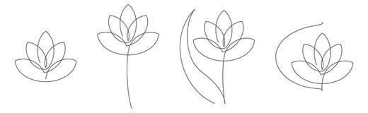 Ununterbrochene Linie Vektorillustration des Blumenlotos stellte mit editable Anschlag für Blumenmuster oder Logo ein lizenzfreie abbildung