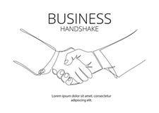 Ununterbrochene Linie Vektorzeichnung des Händedrucks Geschäftsvereinbarungs-Vektorkonzept vektor abbildung
