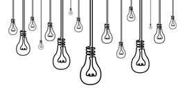Ununterbrochene Linie viele Glühlampen, viele Ideen, Kreativitätskonzept stock abbildung