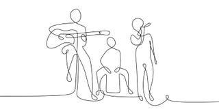ununterbrochenes Federzeichnung der akustischen Konzertleistung auf dem Stadium mit Sänger und akustischem Instrument lizenzfreie abbildung
