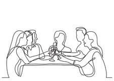 Ununterbrochenes Federzeichnung der Firma der Freunde, die im Restaurant speisen lizenzfreie abbildung