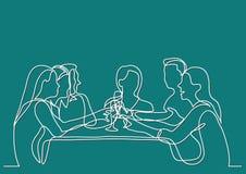 Ununterbrochenes Federzeichnung der Firma der Freunde, die im Restaurant speisen vektor abbildung
