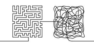 Ununterbrochenes Federzeichnung ein Chaos- und Bestellungskonzept Stockbild