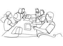 Ununterbrochenes Federzeichnung einer Gruppe Freunde, die eine Linie Tanzenvektorillustration genießen stock abbildung
