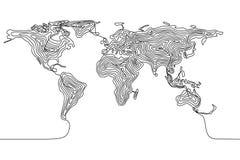 Ununterbrochenes Federzeichnung einer Weltkarte, Erde der einzelnen Zeile Stockbilder