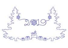 Ununterbrochenes Federzeichnung eines guten Rutsch ins Neue Jahr-Feiertags-, Weihnachtsbaums, der Schneeflocken, der Geschenke un lizenzfreie abbildung