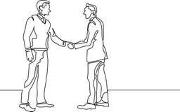 Ununterbrochenes Federzeichnung von den Geschäftsleuten, die Händedruck treffen lizenzfreie abbildung