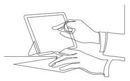 Ununterbrochenes Federzeichnung von den Händen, die zeigend auf Tablettenschirm schreiben lizenzfreie abbildung