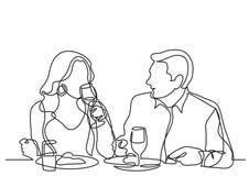 Ununterbrochenes Federzeichnung von den Paaren, die im Restaurant speisen stock abbildung