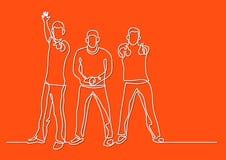 Ununterbrochenes Federzeichnung von drei zujubelnden Kerlen lizenzfreie abbildung