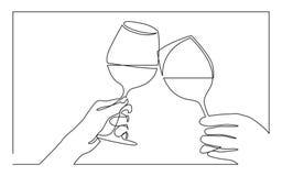 Ununterbrochenes Federzeichnung von zwei Händen, die mit Gläsern Wein zujubeln lizenzfreie abbildung