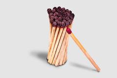 Unused and burnt matches Royalty Free Stock Photo