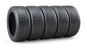 Unused car tires row  Royalty Free Stock Photos