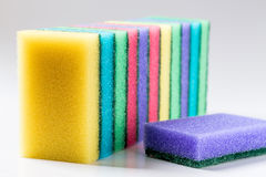 Unused colorful sponges for washing dishes Stock Images