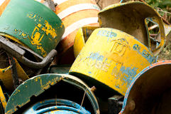 Unused metal garbage cans dumped. Dump of unused metal garbage cans that could be reused or sent for recycling Royalty Free Stock Photo